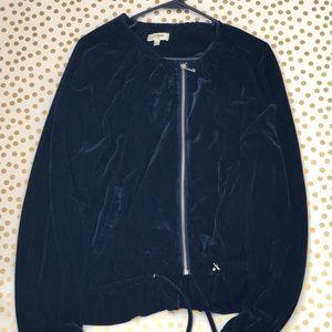 Umgee Navy Velvet Ruffle Bomber Jacket